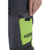 Grey/Green Zero chainsaw pants cell phone pocket view