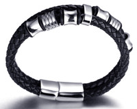 """Halukakah® """"HONOR"""" Men's Genuine Leather Bracelet with Titanium Beads Golden/Silver Magnetic Clasp 8.46""""(21.5cm) with FREE Giftbox 0044"""