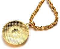 "Halukakah® ""MEDUSA"" Men's 18k Stamp Real Gold Plated 3D Pendant Necklace with FREE Rope Chain 30"" Thick 5mm"