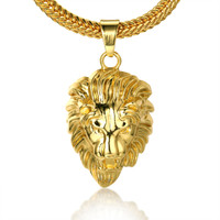 "Halukakah® ""KINGS LANDING"" Men's 18k Real Gold Plated 3D Lion Pendant Necklace ,with FREE SharkTail Chain 30"""