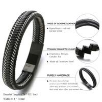 "Halukakah® ""JAZZ"" Men's Genuine Leather Bracelet Titanium Magnetic Clasp Size Adjustable 8.2""-8.7""(21-22cm) with FREE Giftbox"