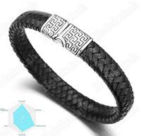 "Halukakah® ""SOLO"" Men's Genuine Leather Bracelet  Classic Style Titanium Magnetic Clasp 8.46""(21.5cm) with FREE Giftbox"