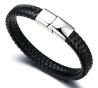 """Halukakah® """"SOLO"""" Men's Genuine Leather Bracelet with Titanium Clasp with Magnets 8.46""""(21.5cm) with FREE Giftbox Black"""