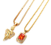 """Halukakah® """"GOLD BLESS ALL"""" Men's 18k Real Gold Plated Angel Ruby Pendant Necklace 2 Chains Set with FREE Rope Box Chain 30"""""""