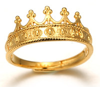 """Halukakah® 18k Real Gold Plated """"KINGSLANDING"""" Crown Ring Size Adjustable with FREE Giftbox"""