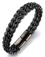 "Halukakah® ""SOLO"" Men's Genuine Leather Bracelet with Double Titanium Chain Silver 8.46""(21.5cm) with FREE Giftbox"