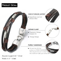 "Halukakah® RETRO Men's Leather Bracelet Vintage Style 8.66""/22cm with FREE Giftbox"
