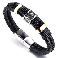 "Halukakah® ""HONOR"" Men's Genuine Leather Titanium Bracelet Black & Golden 8.46""(21.5cm) with FREE GIftbox"