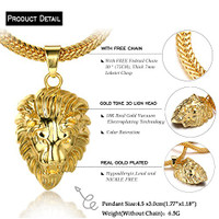 "Halukakah® ""KINGS LANDING"" Men's 18k Real Gold Plated 3D Lion Pendant Necklace ""RICH"" Ring Set,with FREE SharkTail Chain 30"""
