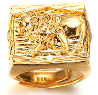"""Halukakah® """"GOLD BLESS ALL"""" Men's 18K Gold Plated Ring LION Size Adjustable with FREE GIftbox"""
