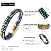 "Halukakah® ""JAZZ"" Men's Genuine Leather Handmade Braid Bracelet Titanium Magnetic Clasp 8.5""(21.5cm) with FREE Giftbox 1042BR"
