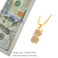 "Halukakah® ""GANG"" Men's 18k Real Gold Plated Sun Glasses Pendant Artificial Diamond Set Necklace with FREE Rope Chain 30"""