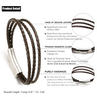 "Halukakah® ""JAZZ"" Men's Genuine Leather Handmade Bracelet 3 Wrap Titanium Magnetic Clasp Brown Leather 8.5""(21.5cm) with FREE Giftbox"