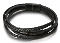 "Halukakah® ""JAZZ"" Men's Genuine Leather Handmade Bracelet 4 Wrap Titanium Magnetic Clasp Black Leather Gun Black Clasp 8.5""(21.5cm) with FREE Giftbox 2132"