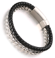 "Halukakah ""POWER"" Men's Genuine Leather Handmade Bracelet  Titanium Magnetic Clasp 8.5""(21.5cm) with FREE Giftbox"