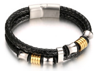 "Halukakah® ""MIST"" Men's Genuine Leather Handmade Bracelet Titanium Beads Golden with Matt Magnetic Clasp 8.5""(21.5cm) with FREE Giftbox"