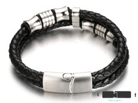 "Halukakah® ""MIST"" Men's Genuine Leather Handmade Bracelet Titanium Beads Silver with Matt Magnetic Clasp 8.5""(21.5cm) with FREE Giftbox"