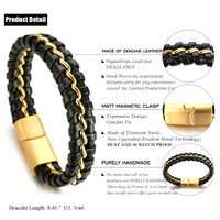 "Halukakah® ""MIST Men's Genuine Leather Handmade Bracelet Titanium Chain Golden with Matt Magnetic Clasp 8.5""(21.5cm) with FREE Giftbox"
