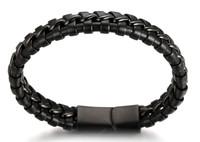 "Halukakah® ""MIST Men's Genuine Leather Handmade Bracelet Titanium Chain Black with Matt Magnetic Clasp 8.5""(21.5cm) with FREE Giftbox"