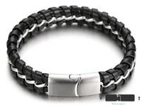 "Halukakah® ""MIST Men's Genuine Leather Handmade Bracelet Titanium Chain Silver with Matt Magnetic Clasp 8.5""(21.5cm) with FREE Giftbox"