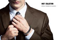 "Halukakah ""MIST Men's Genuine Leather Handmade Classic Bracelet Titanium Matt Black Magnetic Clasp 8.5""(21.5cm) with FREE Giftbox"