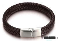 "Halukakah ""MIST Men's Genuine Leather Handmade Classic Bracelet Titanium Matt Silver Magnetic Clasp 8.5""(21.5cm) with FREE Giftbox"