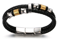 "Halukakah Plus ● Honour ● Men's Genuine Leather Bracelet with Titanium Beads Golden & Silver Magentic Clasp Size Adjustable 8.46""-9""(21.5-23cm) with FREE Giftbox"