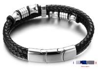 "Halukakah Plus ● Solo ● Men's Genuine Leather Bracelet with Titanium Beads Silver Titanium Magentic Clasp Size Adjustable 8.46""-9""(21.5-23cm) with FREE Giftbox"