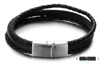 "Halukakah ● IN THE WIND ● Men's Genuine Leather Handmade Multi Layer Bracelet Titanium Matt Silver Magnetic Clasp Size Adjustable 8.5""-9""(22-23cm) with FREE Giftbox"