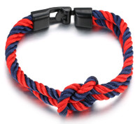 "Halukakah ● SAIL ● Men's Nylon Rope Cord Bracelet Infinity Loop Handmade Gun Black Clasp 8.26""/21cm with FREE Giftbox"