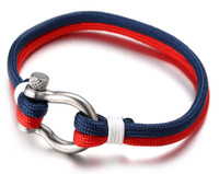 """Halukakah ● SAIL ● Men's Nylon Rope Cord Bracelet Multilayer Blue Mix White/Red Handmade Silver Screw Clasp 8.26""""/21cm with FREE Giftbox"""