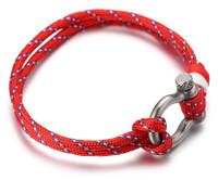 "Halukakah ● SAIL ● Men's Nylon Rope Cord Bracelet Multilayer Handmade Silver Screw Clasp 8.26""/21cm with FREE Giftbox"