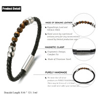 """Halukakah ● SALUTE THE LAND ● Men's Genuine Leather Bracelet with Natural Tiger Eye Stone Beads Magentic Clasp 8.46""""(21.5cm) with FREE Giftbox"""