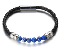 "Halukakah ● SALUTE THE SEA ● Men's Genuine Leather Bracelet with Natural Blue Imperial Stone Beads Magentic Clasp 8.46""(21.5cm) with FREE Giftbox"