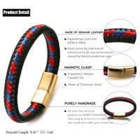"Halukakah ● ROMA ● Men's Genuine Leather Handmade Bracelet Braid Blue & Red Cotton Thread Golden Titanium Magnetic Clasp 8.5""(21.5cm) with Free Giftbox"