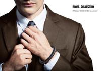 "Halukakah ● ROMA ● Men's Genuine Leather Handmade Bracelet Braid Blue & Brown Cotton Thread Gun Black Titanium Magnetic Clasp 8.5""(21.5cm) with Free Giftbox"