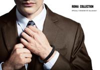 "Halukakah ● ROMA ● Men's Genuine Leather Handmade Bracelet Braid Black & Brown Cotton Thread Silver Titanium Magnetic Clasp 8.5""(21.5cm) with Free Giftbox"