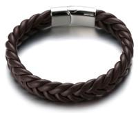 "Halukakah ● ROMA ● Men's Genuine Brown Leather Handmade Bracelet Braid V Pattern Silver Titanium Magnetic Clasp 8.5""(21.5cm) with Free Giftbox"