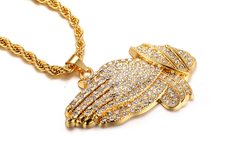 "Halukakah ""PRAYER"" Real Gold Plated Hand Pendant Necklace,Dense Cz Inlay,with FREE Rope Chain 0028"