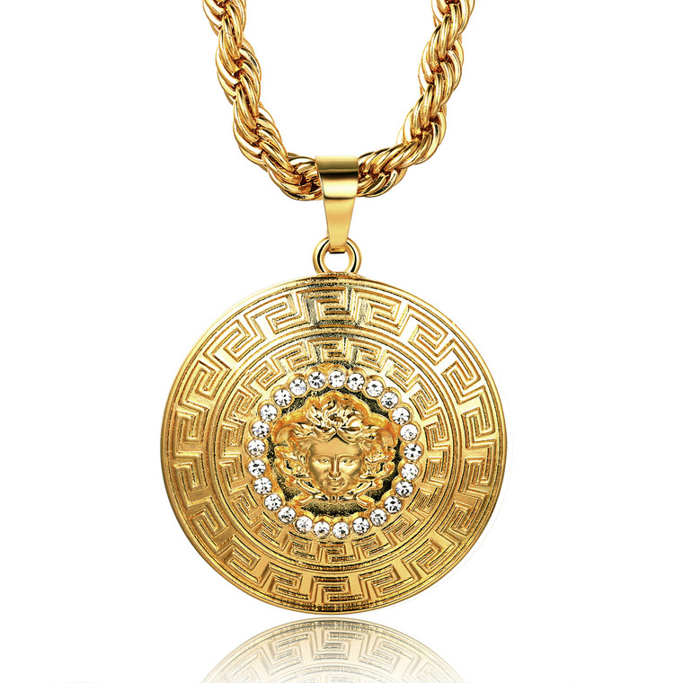 """Halukakah """"MEDUSA"""" Men's 18k Stamp Real Gold Plated 3D Pendant Necklace with FREE Rope Chain 30"""" Thick 5mm"""
