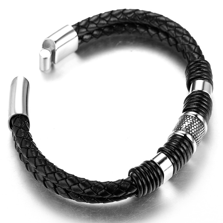 "Halukakah ""SOLO"" Men's Genuine Leather Titanium Bracelet8.46""(21.5cm) with FREE GIftbox"