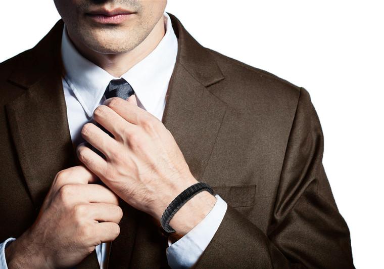 "Halukakah ""JAZZ"" Men's Genuine Leather Bracelet Titanium Clasp with Magnets 8.46""(21.5cm) with FREE Giftbox"