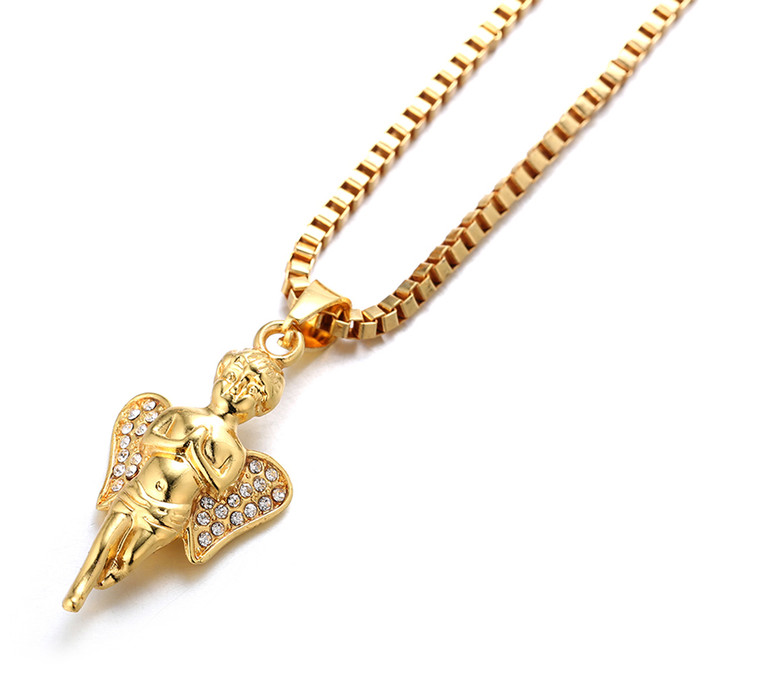 """Halukakah """"GOLD BLESS ALL"""" Men's 18k Real Gold Plated Angel Ruby Pendant Necklace 2 Chains Set with FREE Rope Box Chain 30"""""""