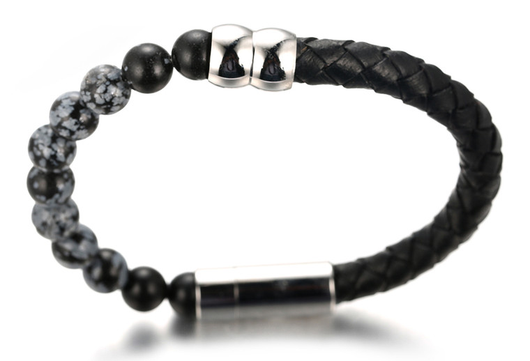 "Halukakah ""SALUTE THE EARTH"" Men's Genuine Leather Bracelet with Snowflake Obsidian Beads,Smart Magentic Clasp, 8.46""(21.5cm) with FREE Giftbox"