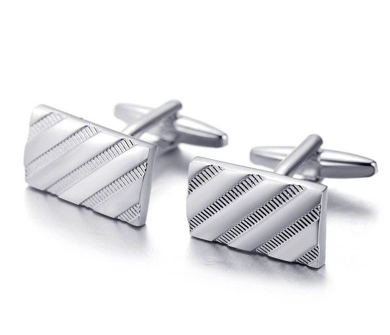 """Halukakah """"HONOUR"""" Men's Cufflinks Classic Business Style Rectangle Twill Stripe Design Silver 1 Pair with FREE Giftbox"""