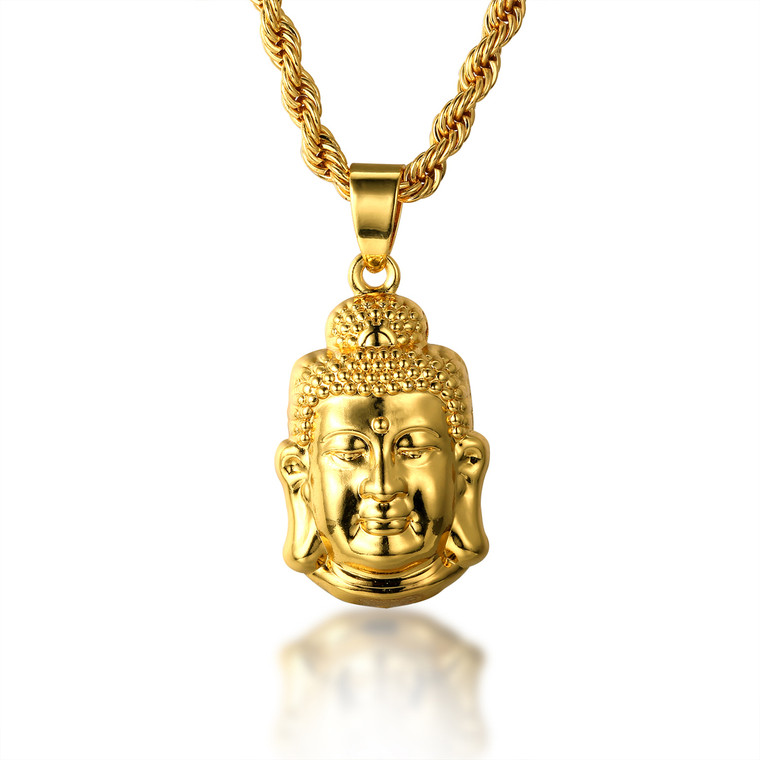 "Halukakah ""GOLD BLESS ALL"" 18k Real Gold Plated 3D Buddha Pendant Necklace.Double-faced,with FREE Rope Chain 30"""