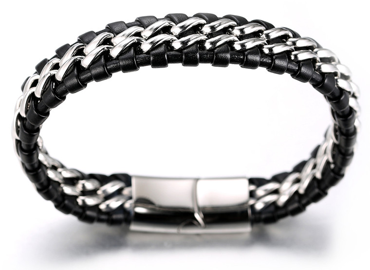 "Halukakah ""SOLO"" Men's Genuine Leather Bracelet with Double Titanium Chain Silver 8.46""(21.5cm) with FREE Giftbox"
