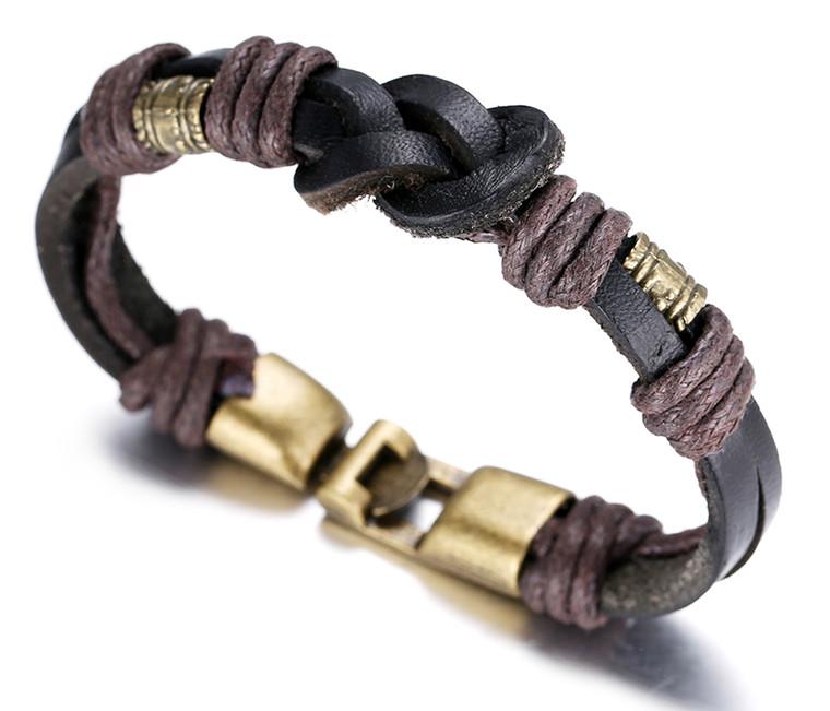 "Halukakah ""RETRO"" Men's Leather Bracelet Vintage Style Rope Knit 8.66""/22cm with FREE Giftbox"