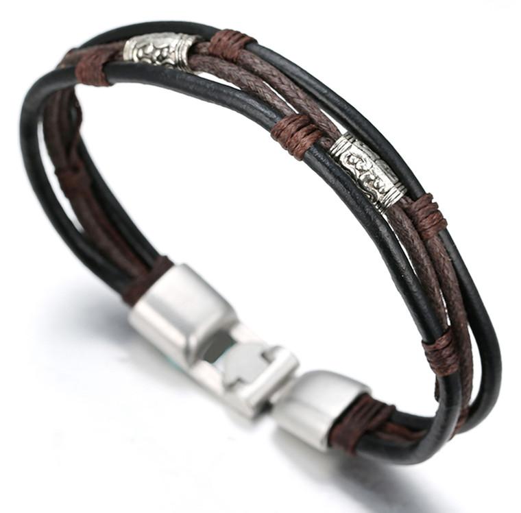 "Halukakah RETRO Men's Leather Bracelet Vintage Style 8.66""/22cm with FREE Giftbox"