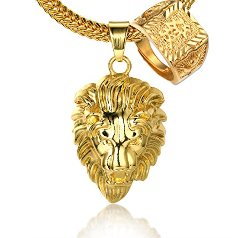 """Halukakah """"KINGS LANDING"""" Men's 18k Real Gold Plated 3D Lion Pendant Necklace"""" RICH"""" Ring Set,with FREE SharkTail Chain 30"""""""